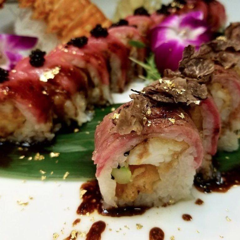 "<p>Nothing says ""I won big"" quite like dropping $250 on a roll of sushi. This off-menu roll at <a href=""https://www.tripadvisor.com/Restaurant_Review-g45963-d653066-Reviews-Sushi_Roku_Las_Vegas-Las_Vegas_Nevada.html"" rel=""nofollow noopener"" target=""_blank"" data-ylk=""slk:Sushi Roku"" class=""link rapid-noclick-resp"">Sushi Roku</a> includes lobster tail, tuna, wagyu beef, avocado, asparagus, golden Ossetra caviar, truffle oil, and gold leaf. Because that's how high rollers roll, right?</p>"