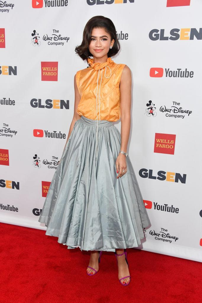 <p>At the 2017 GLSEN Respect Awards, Zendaya opted for a sports-luxe aesthetic as she donned a Calvin Klein hoodie-raincoat-hybrid teamed with a fifties-style skirt. <em>[Photo: Getty]</em> </p>
