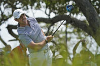 Rory McIlroy, of Northern Ireland, watches his tee shot on the seventh hole during a practice round at the PGA Championship golf tournament on the Ocean Course Wednesday, May 19, 2021, in Kiawah Island, S.C. (AP Photo/Matt York)