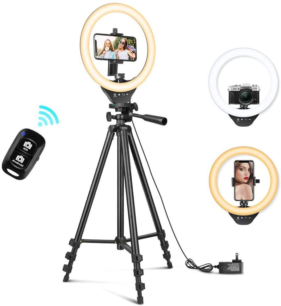 "<br><br><strong>sensyne</strong> 10'' Ring Light Set, $, available at <a href=""https://www.amazon.com/Extendable-Sensyne-YouTube-Compatible-Android/dp/B08B3X7NXC"" rel=""nofollow noopener"" target=""_blank"" data-ylk=""slk:Amazon"" class=""link rapid-noclick-resp"">Amazon</a>"