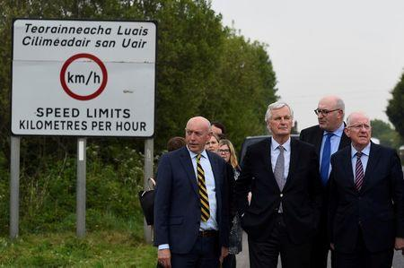 FILE PHOTO: EU Chief Negotiator for Brexit Barnier accompanied by a delegation of Irish ministers visits the Armagh and County Louth border between Northern Ireland and Ireland