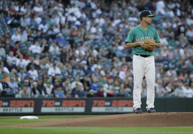Seattle Mariners starting pitcher Wade LeBlanc stands on the mound during a baseball game against the Chicago White Sox, Friday, July 20, 2018, in Seattle. (AP Photo/Ted S. Warren)