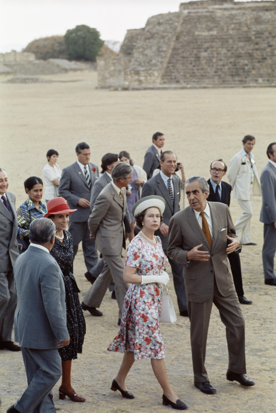 Queen Elizabeth II and Prince Philip visit an ancient ruin during their state visit to Mexico, 1975. (Photo by Serge Lemoine/Getty Images)