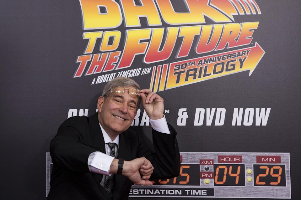 Franchise Co-Creator, writer and producer Bob Gale attends the Back to the Future 30th Anniversary screening in the Manhattan borough of New York, October 21, 2015. The film franchise is celebrating today's date as in the first sequel, the main characters traveled through time to October 21, 2015. REUTERS/Andrew Kelly