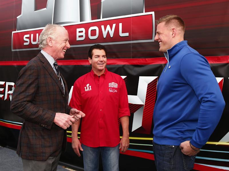 Papa John's CEO John Schnatter (middle), pictured with Archie Manning (left) and J.J. Watt spoke out against protesting NFL players earlier this month. (AP)