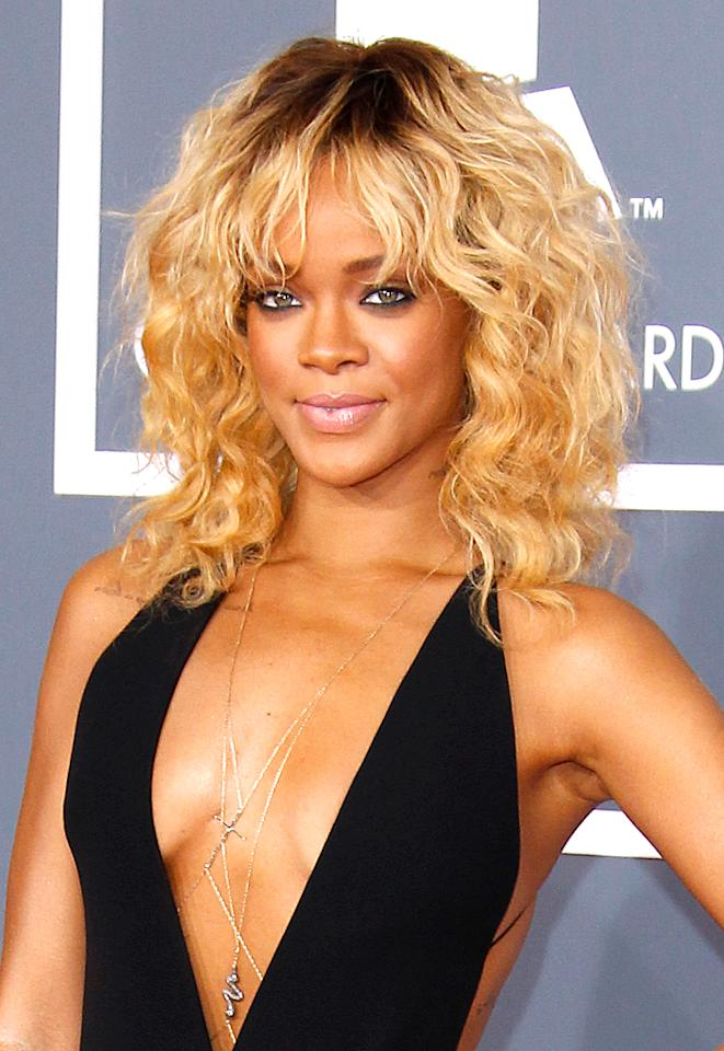 Rihanna has become a pop star who, like her friends Katy Perry, Lady Gaga, and Nicki Minaj, keeps us guessing about the style she'll be showing off next -- and that definitely includes her hair. On February 2, the 24-year-old debuted a bold, blond rocker look with bangs via Twitter, with a message that said the color was for a photo shoot she was doing for <em>Elle</em> magazine. Rihanna must have liked it, though, because she's been sporting the shade ever since. (2/12/2012)