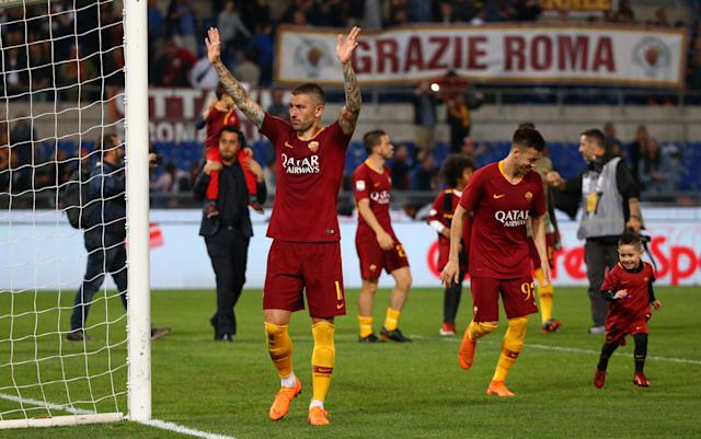 Soccer Football - Serie A - AS Roma vs Juventus - Stadio Olimpico, Rome, Italy - May 13, 2018 Roma's Aleksandar Kolarov acknowledges fans after the match REUTERS/Alessandro Bianchi