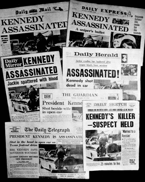 This Friday, Nov. 22, 1963 file photo shows the front pages of seven British national daily newspapers in London headlining the assassination of U.S. President John F. Kennedy. Friday, Nov. 22, 2013 marks the 50th anniversary of his death. (AP Photo/File)