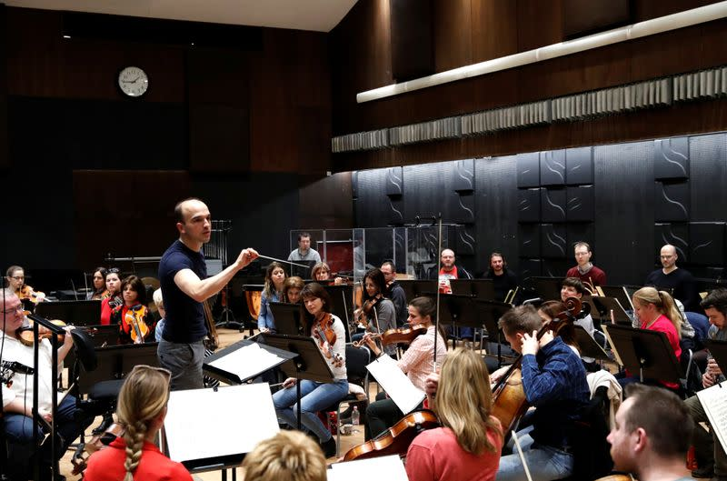 Conductor Hamori conducts the Danubia Orchestra during a rehearsal in Budapest