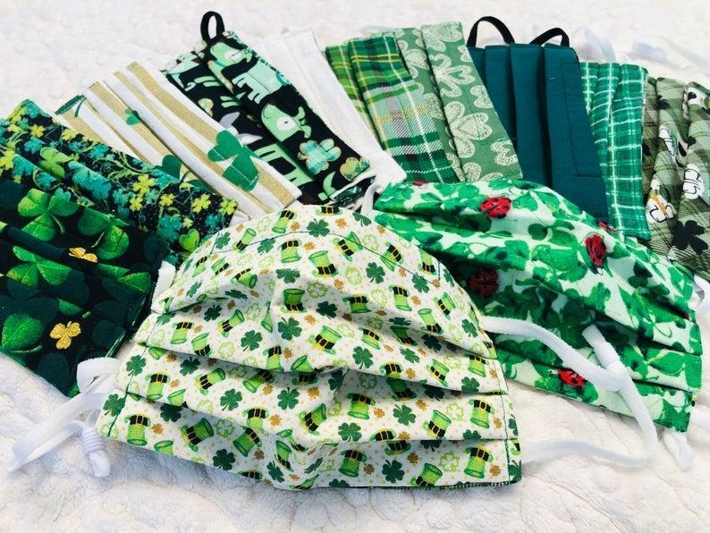 MsMelissasHandcrafts Reversible St. Patrick's Day Face Mask