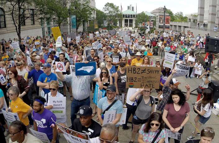<p>Protesters rally against House Bill 2 in Raleigh, N.C., on April 25, 2016. <i>(Chuck Liddy/The News & Observer via AP) </i></p>