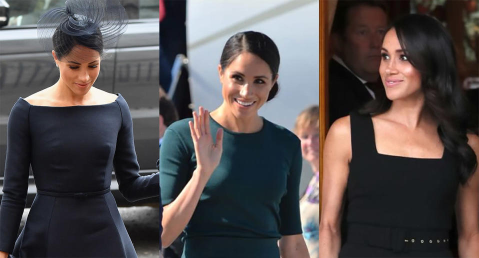 Duchess of Sussex changes into third outfit of the day for summer garden party in Dublin. (Photos: Getty Images)
