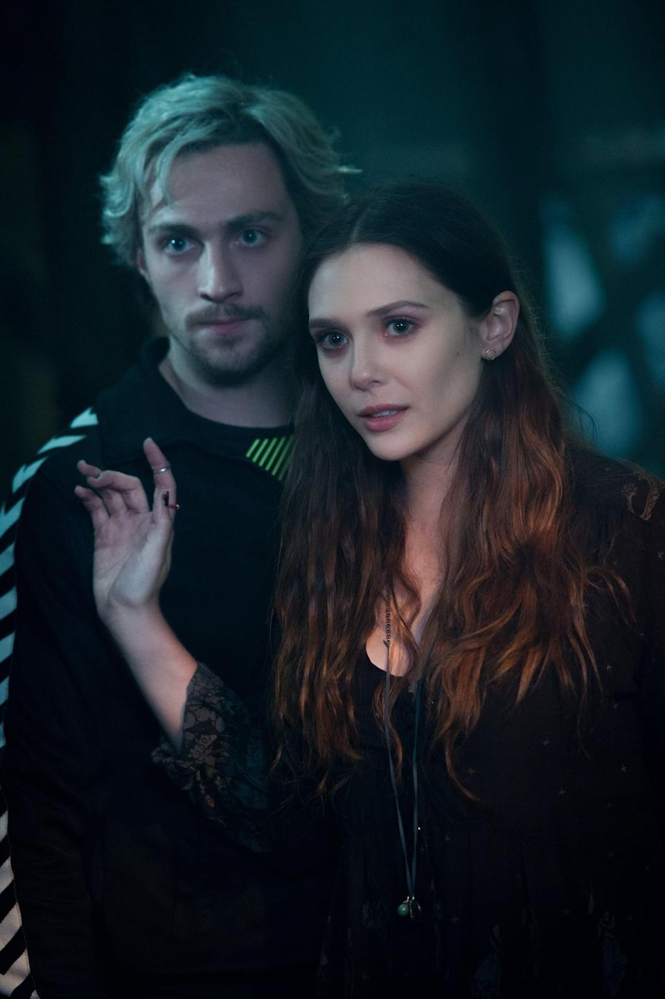 <p><strong>For Scarlet Witch:</strong> A black miniskirt and tank under a red leather jacket, black knee socks, boots, and leather arm warmers.</p> <p><strong>For Quicksilver:</strong> A skintight, blue, long-sleeved shirt and pants (think: a wetsuit). Wear a blond wig, and add a little mustache.</p>