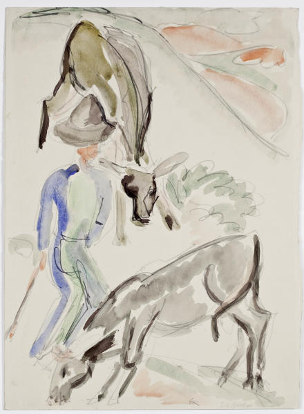 This undated file picture publicly released by Museum Ludwig Cologne,/ Rheinisches Bildarchiv, shows a water color 'Herdsman with two calves' by German painter Ernst Ludwig Kirchner (around 1920) . The work of art is one of 11,, the western city of Cologne announced it would return to the heirs of Jewish collectors who sold them before, or shortly after, fleeing Nazi Germany. The decision comes as the federal government refuses a claim by another Jewish family seeking the return of two Bellotto paintings their grandfather sold after emigrating to Switzerland to escape the Nazis. (AP Photo/ Rheinisches Bildarchiv Koeln , Sabrina Walz) MANDATORY CREDIT