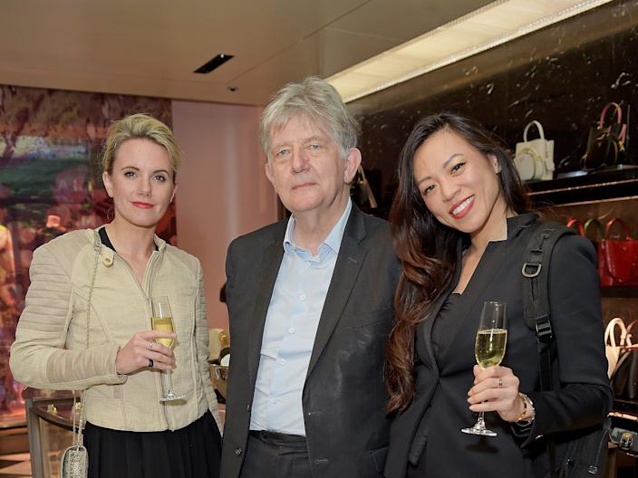 Sofia Hagen, Deyan Sudjic and Dara Huang (right) attend the Prada Invites event on April 24, 2019 in London, England.
