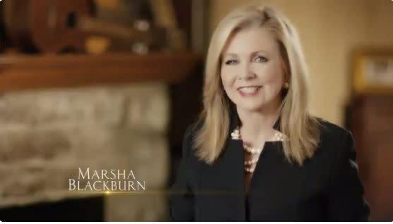 """Twitter blocked a campaign ad for Rep. Marsha Blackburn (R-Tenn.) for its """"inflammatory"""" content."""