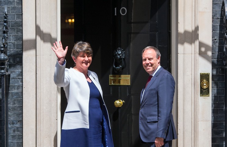 DUP leaders arrived in Downing Street to thrash out the terms of a confidence and supply deal with the Tories (PA)