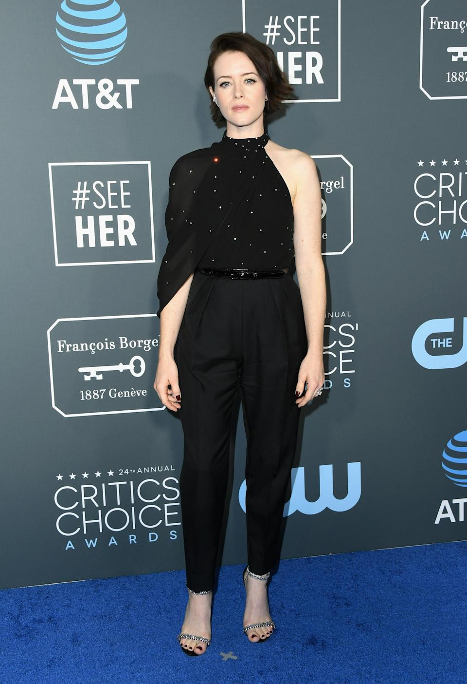 <p>The Crown actress Claire Foy decided upon a more edgy look for the awards. Source: Getty </p>