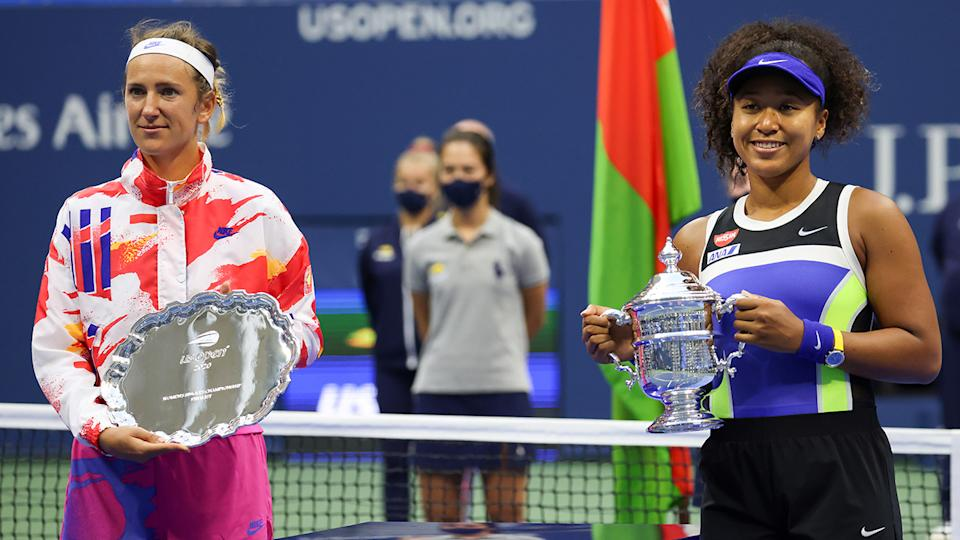 Naomi Osaka, pictured here with the trophy after winning the US Open final against Victoria Azarenka.