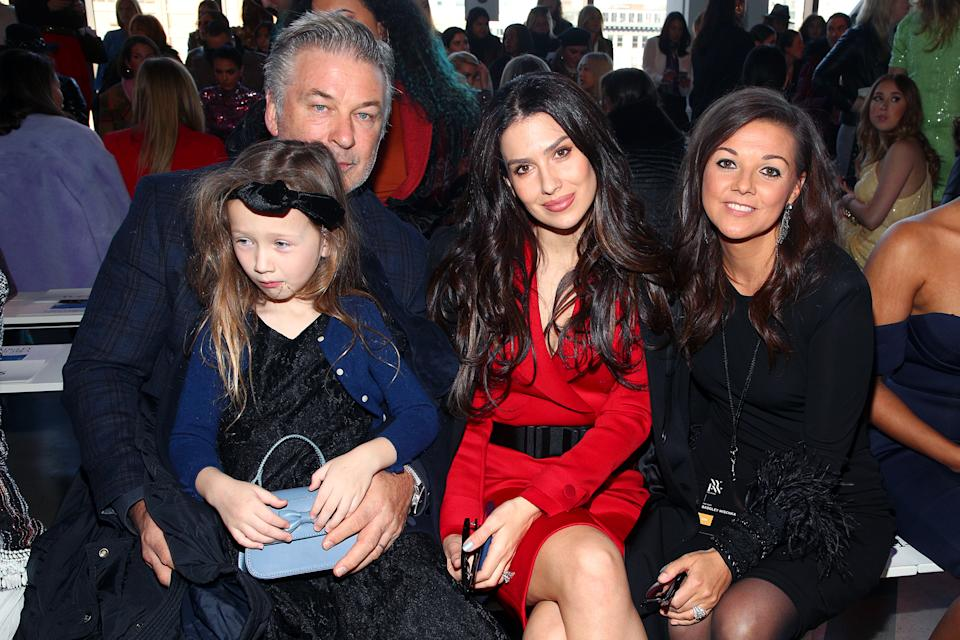 NEW YORK, NEW YORK - FEBRUARY 08: Alec Baldwin, Carmen Baldwin, Hilaria Baldwin and Christine Currence attends the Badgley Mischka front row during New York Fashion Week: The Shows at Gallery I at Spring Studios on February 08, 2020 in New York City. (Photo by Astrid Stawiarz/Getty Images for Badgley Mischka)