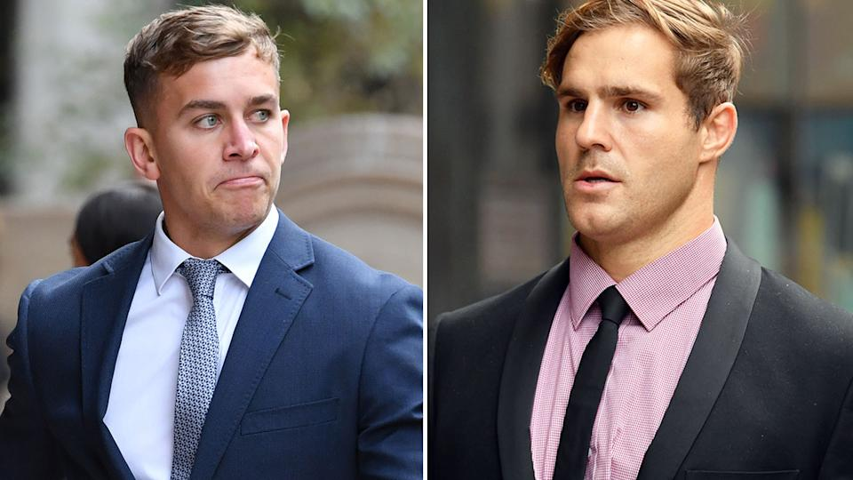 Pictured here, rugby league players Callan Sinclair and Jack de Belin at court.