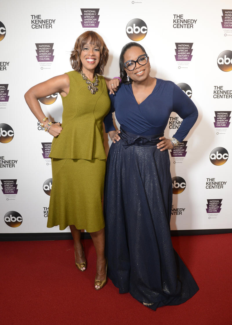 Oprah Winfrey and Gayle King pose on the red carpet together
