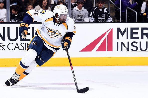 LOS ANGELES, CA - OCTOBER 27: P.K. Subban #76 of the Nashville Predators skates during the game against the Los Angeles Kings on October 27, 2016 at Staples Center in Los Angeles, California. (Photo by Juan Ocampo/NHLI via Getty Images)