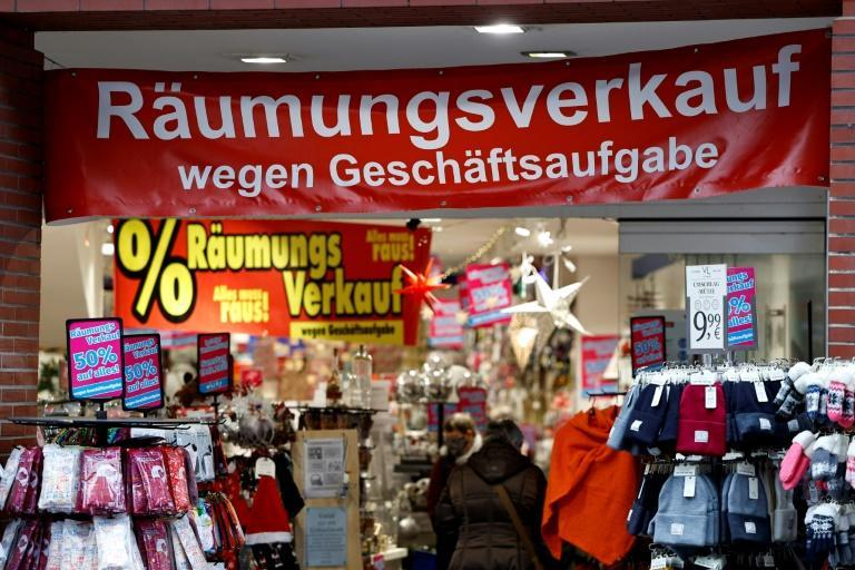 Banners like this one reading 'Clearance sale due to business closure' have become a more frequent sight in German towns and cities
