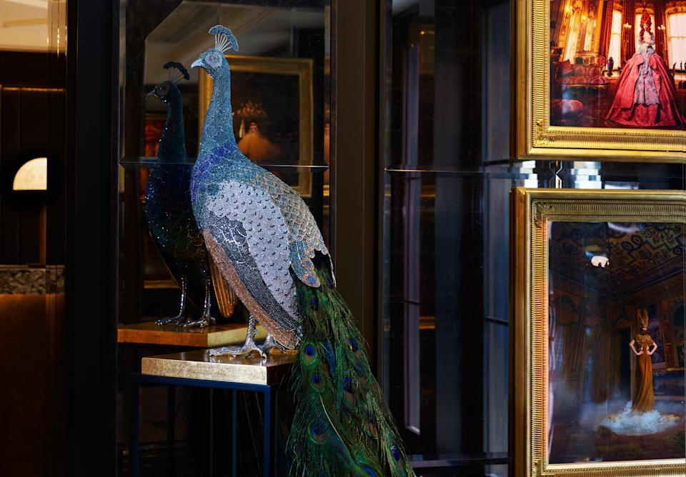 Artist Clarita Brinkerhoff's crystal-covered peacockMayfair Townhouse