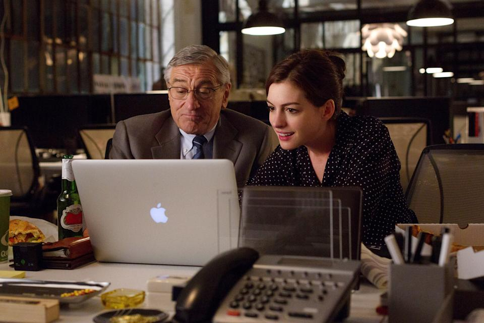 Robert De Niro and Anne Hathaway in The Intern, 2015.