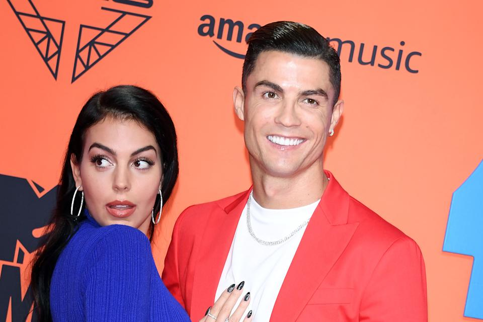 SEVILLE, SPAIN - NOVEMBER 03: Georgina Rodriguez and Cristiano Ronaldo attend the MTV EMAs 2019 at FIBES Conference and Exhibition Centre on November 03, 2019 in Seville, Spain. (Photo by Daniele Venturelli/Daniele Venturelli/WireImage )