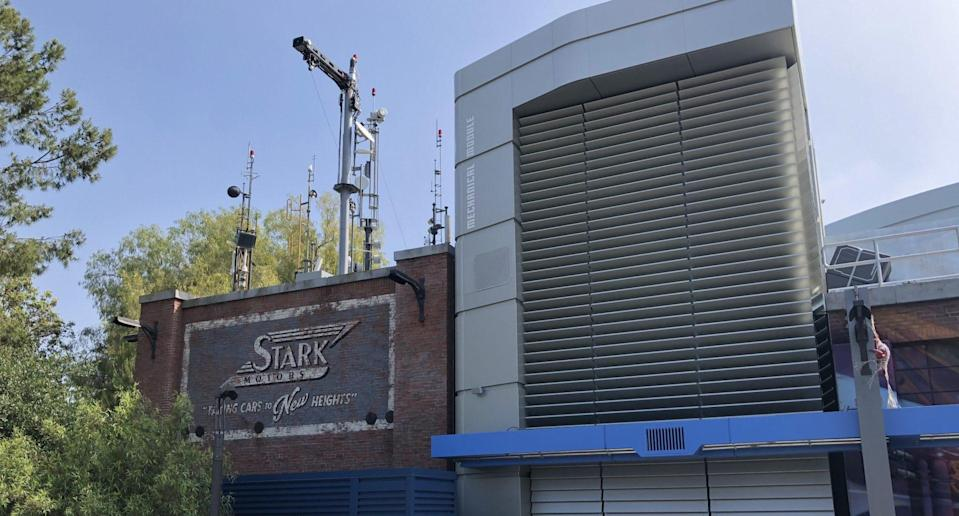 The Stark Industries building in Avengers Campus.