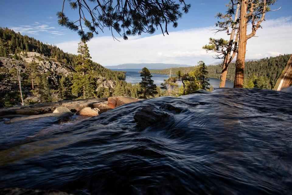 A river flows toward Lake Tahoe from the smaller mountain Eagle Lake, near Standish.