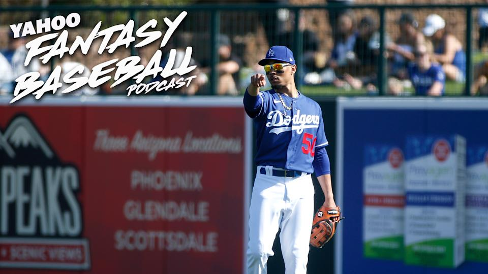Mookie Betts #50 of the Los Angeles Dodgers during a Cactus League spring training game against the Chicago White Sox at Camelback Ranch.