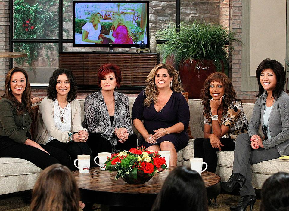 From left, Leah Remini, Sara Gilbert, Sharon Osbourne, Marissa Jaret Winokur, Holly Robinson Peete and Julie Chen appear on a 2010 episode of