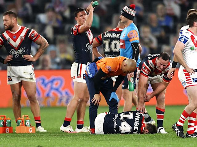 Sam Verrills lies in pain after suffering a suspected ACL tear: Getty