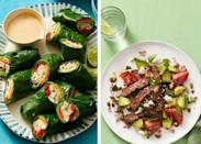 """<p>It's a common misconception that when searching for <a href=""""https://www.womansday.com/food-recipes/food-drinks/g19/40-light-easy-recipes-12017/"""" rel=""""nofollow noopener"""" target=""""_blank"""" data-ylk=""""slk:healthy lunch recipes"""" class=""""link rapid-noclick-resp"""">healthy lunch recipes</a>, or just easy and light meals, your options are profoundly limited. Turns out, there are plenty of <a href=""""https://www.womansday.com/health-fitness/nutrition/advice/g1046/healthy-meal-plan/"""" rel=""""nofollow noopener"""" target=""""_blank"""" data-ylk=""""slk:healthy meals"""" class=""""link rapid-noclick-resp"""">healthy meals</a> out there that aren't <a href=""""https://www.womansday.com/food-recipes/food-drinks/g2432/dinner-salad-recipes/"""" rel=""""nofollow noopener"""" target=""""_blank"""" data-ylk=""""slk:just salads"""" class=""""link rapid-noclick-resp"""">just salads</a> or blandly seasoned fish with steamed vegetables (though those do work, if that's what you like!) </p><p>""""The key to building a healthy lunch is having a balance of protein, <a href=""""https://www.womansday.com/health-fitness/nutrition/advice/g1412/healthy-fats/"""" rel=""""nofollow noopener"""" target=""""_blank"""" data-ylk=""""slk:healthy fat"""" class=""""link rapid-noclick-resp"""">healthy fat</a>, and carbohydrate, and there [are] infinite <a href=""""https://marisamoore.com/"""" rel=""""nofollow noopener"""" target=""""_blank"""" data-ylk=""""slk:ways to do this"""" class=""""link rapid-noclick-resp"""">ways to do this</a>,"""" Marisa Moore, a registered dietitian nutritionist in Atlanta, tells Woman's Day. """"You might enjoy fish tacos with the tortilla, fish, and vegetables, you're all set in one dish. Or maybe it's a soup and salad kind of day — both great opportunities to pile in plenty of vegetables.""""</p><p>In addition to protein, healthy fats, and some carbohydrates, adding whole grains, fruits, and vegetables to all of your meals can give your <a href=""""https://www.womansday.com/food-recipes/cooking-tips/a50050/5-simple-ways-to-cook-healthy-meals-without-going-over-budget/"""" rel=""""nofollow noopener"""" target=""""_blan"""