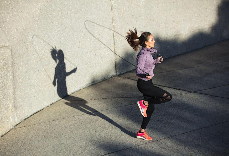 """<p>The jump rope you loved as a kid is probably the most underrated workout tool you can use as an adult. From warm-ups to <a href=""""https://www.prevention.com/fitness/workouts/a25995418/hiit-training-workouts-benefits/"""" rel=""""nofollow noopener"""" target=""""_blank"""" data-ylk=""""slk:high-intensity workouts"""" class=""""link rapid-noclick-resp"""">high-intensity workouts</a>, they're extremely easy to incorporate into any heart-pumping sweat session. </p><p>Jumping rope daily can have positive effects on your muscle strength, speed, and weight. One <a href=""""https://rjptonline.org/HTMLPaper.aspx?Journal=Research+Journal+of+Pharmacy+and+Technology&PID=2019-12-10-46"""" rel=""""nofollow noopener"""" target=""""_blank"""" data-ylk=""""slk:study"""" class=""""link rapid-noclick-resp"""">study</a> on college-aged men even found that regularly doing <a href=""""https://www.prevention.com/fitness/a30910693/jennifer-garner-jump-rope-video/"""" rel=""""nofollow noopener"""" target=""""_blank"""" data-ylk=""""slk:jump rope exercises"""" class=""""link rapid-noclick-resp"""">jump rope exercises</a> within training programs can boost heart health and respiratory fitness.</p><p>Because jump ropes are generally affordable and easy to travel with (since they take up such little space), they're an excellent tool to stash away in <a href=""""https://www.prevention.com/fitness/a20512342/best-gym-bags-for-women/"""" rel=""""nofollow noopener"""" target=""""_blank"""" data-ylk=""""slk:your gym bag"""" class=""""link rapid-noclick-resp"""">your gym bag</a>—but finding the right one for you isn't always simple. Jump ropes are not a one-size-fits-all type of tool, and it's essential to find the correct size for your needs, says <a href=""""https://www.instagram.com/isaiahleonfitness/?hl=en"""" rel=""""nofollow noopener"""" target=""""_blank"""" data-ylk=""""slk:Isaiah Leon"""" class=""""link rapid-noclick-resp"""">Isaiah Leon</a>, an ACE-certified personal trainer and ACSM-certified exercise physiologist in Brooklyn.</p><h2 class=""""body-h2"""">How to find the best jump rope for your workout</h2><p><strong>✔️ Consider the lengt"""