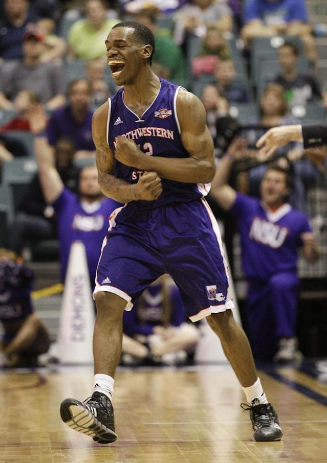 Northwestern State's Jalan West (12) reacts after making a three-point shot to tie the game during the second half of an NCAA college basketball game in the semifinal round of the Southland Conference tournament Friday, March 14, 2014, in Katy. (AP Photo/Bob Levey)