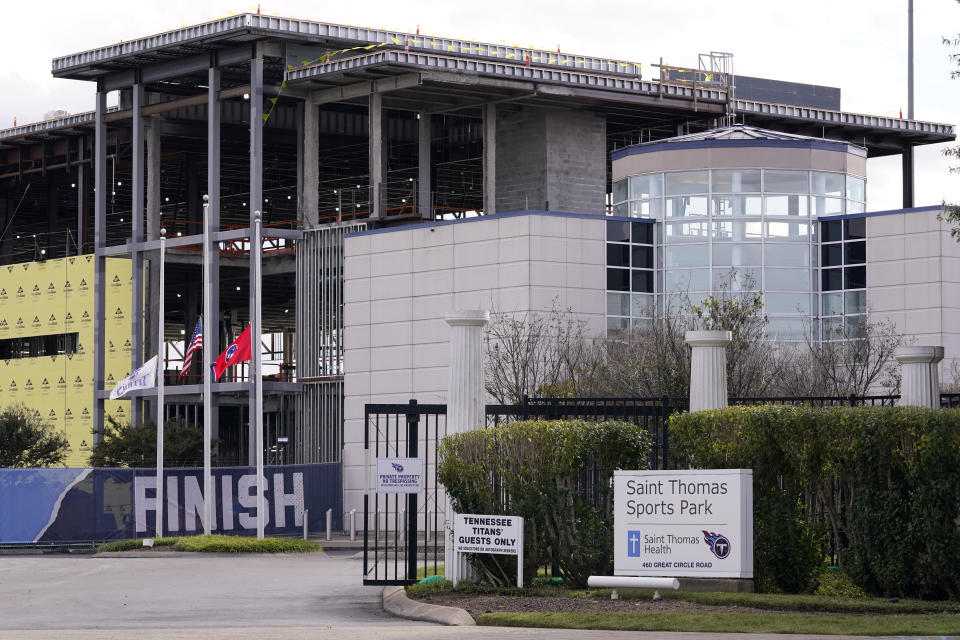 The entrance to the Tennessee Titans' practice facility is shown Tuesday, Sept. 29, 2020, in Nashville, Tenn. The Titans suspended in-person activities through Friday after the NFL said three Titans players and five personnel tested positive for the coronavirus, becoming the first COVID-19 outbreak of the NFL season in Week 4. The facility is now closed for four days to help limit the spread of the virus. (AP Photo/Mark Humphrey)