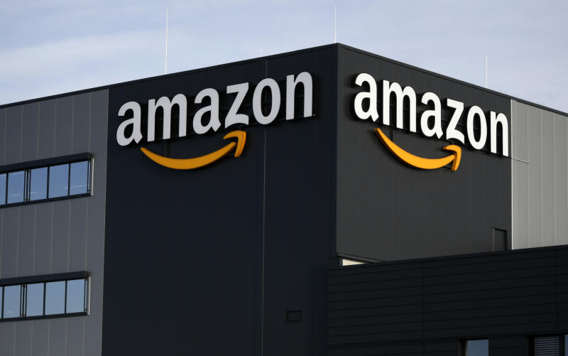 This picture shows the logo of US online retail giant Amazon at the distribution center in Moenchengladbach, western Germany, on December 17, 2019. (Photo by INA FASSBENDER / AFP) (Photo by INA FASSBENDER/AFP via Getty Images)