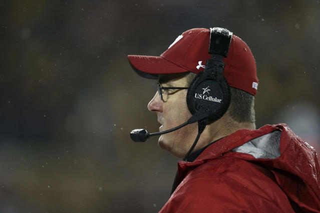 Wisconsin head coach Paul Chryst watches during an NCAA college football game against Minnesota, Saturday, Nov. 30, 2019, in Minneapolis. Wisconsin won 38-17. (AP Photo/Stacy Bengs)