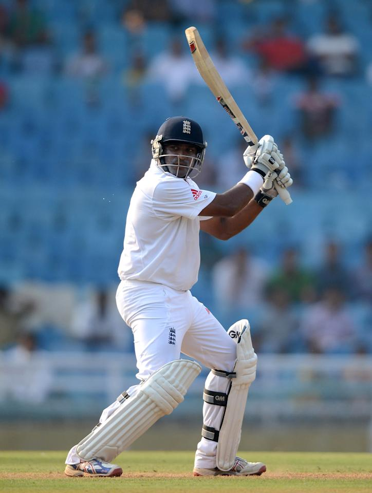 Samit Patel of England bats during day one of the tour match between Mumbai A and England at The Dr D.Y. Palit Sports Stadium on November 3, 2012 in Mumbai, India. (Photo by Gareth Copley/Getty Images)