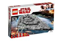 """<p>""""Join Supreme Leader Snoke as he rules the galaxy aboard the mighty First Order Star Destroyer! Fire the stud shooters to defeat enemy ships and then open the panels to play inside. Ride the elevator to Snoke's command center and issue orders to the mini hologram. Give the fleet orders from the bridge, prepare for battle in the conference area, get the droids aboard and monitor the ship from the control room. When you're ready to move out, grab the handle on top and zoom into action at hyperspeed!"""" $159.99 (Photo: Lego) </p>"""