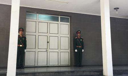 Vietnamese soldiers stand guard outside a morgue, where the body of Vietnam's President Tran Dai Quang is believed to be kept, at the National Military Hospital 108 in Hanoi, Vietnam September 21, 2018. REUTERS/Mai Nguyen