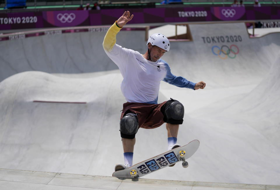 Rune Glifberg of Denmark takes part in a men's Park Skateboarding training session at the 2020 Summer Olympics, Saturday, July 31, 2021, in Tokyo, Japan. The age-range of competitors in skateboarding's Olympic debut at the Tokyo Games is remarkably broad and 46-year-old Rune Glifberg will go wheel-to-wheel with skaters less than half his age. (AP Photo/Ben Curtis)