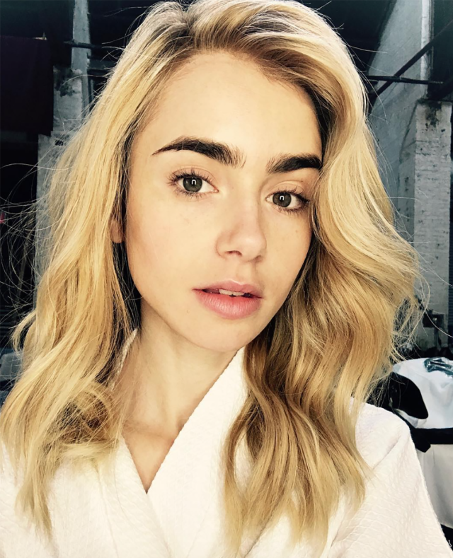 <p>We guess blondes do have more fun. Right, Ms. Collins? (Photo: Instagram/Lily Collins) </p>