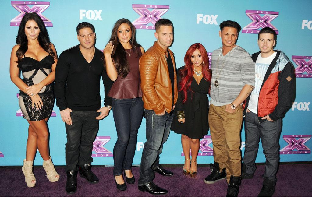 "Jenni 'Jwoww' Farley, Ronnie Ortiz-Magro, Sammi 'Sweetheart' Giancola, Mike 'The Situation' Sorrentino, Nicole 'Snooki' Polizzi, Paul 'Pauly D' DelVecchio and Vinny Guadagnino arrive at Fox's ""The X Factor"" Season Finale Night 1 at CBS Televison City at CBS Studios on December 19, 2012 in Los Angeles, California."