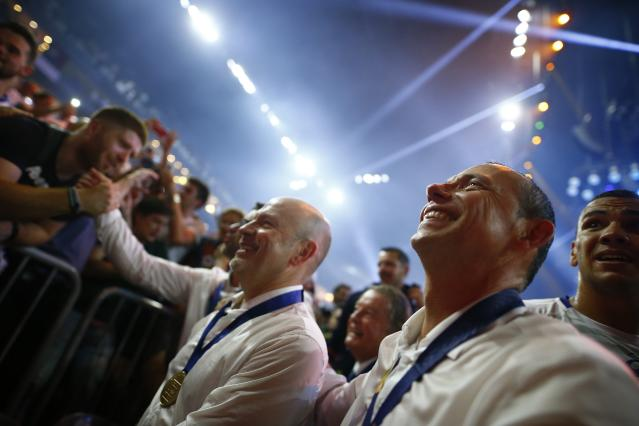 Handball - Men's EHF Champions League Final - HBC Nantes vs Montpellier HB - Lanxess Arena, Cologne, Germany - May 27, 2018. Montpellier HB coach Patrice Canayer celebrates winning the match. REUTERS/Thilo Schmuelgen