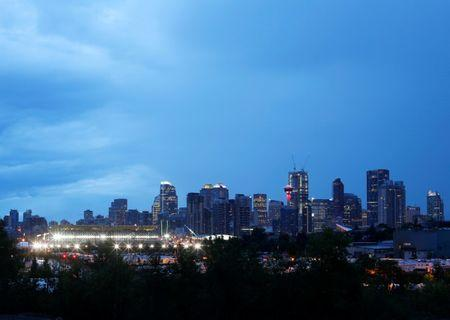 Calgary, the home of oil and gas in Canada and host to the Calgary Stampede rodeo, is pictured at dusk